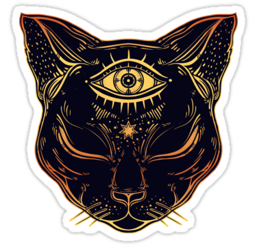 'Egyptian Cat with Third Eye Open' sticker by MagneticMama