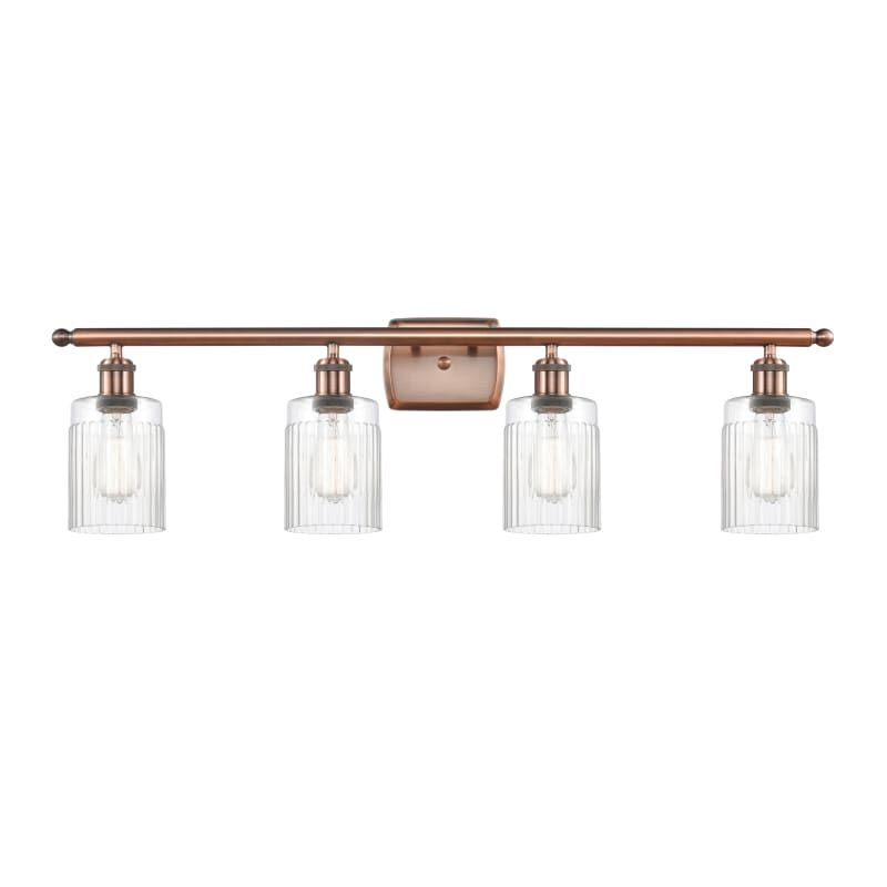 "Photo of Innovations lighting 516-4W Hadley Hadley 4 Light 36 ""wide bathroom vanity light antique copper / clear interior lighting bathroom fittings vanity light"