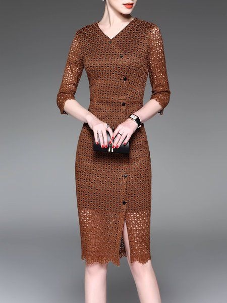f0f60d264f9e Shop Midi Dresses - Brown Guipure Lace Abstract 3 4 Sleeve Midi Dress  online. Discover unique designers fashion at StyleWe.com.
