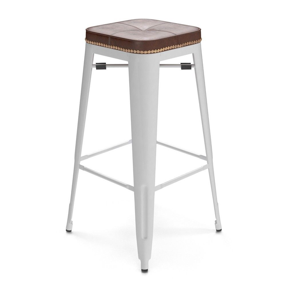 30 Griffin Backless Barstool Set Of 2 White Aeon Cafe Bar
