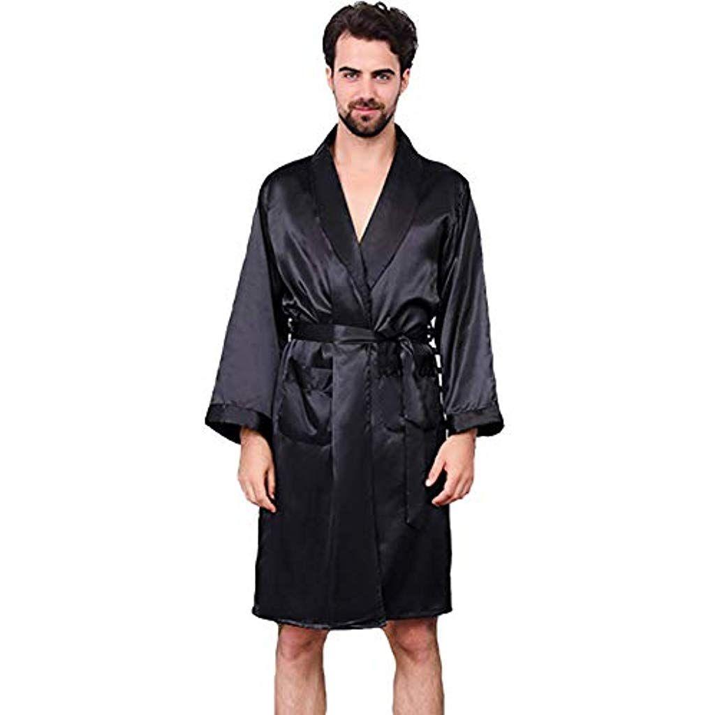 Yanxh Peignoir En Soie Pour Homme Robes De Kimono Manches