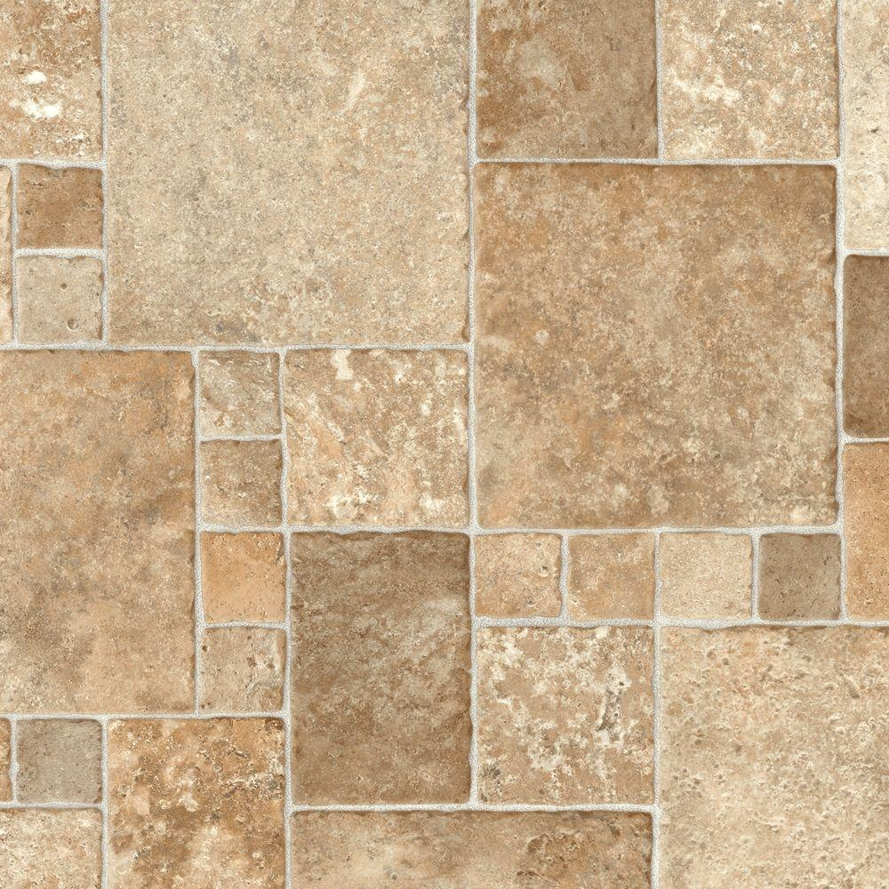 TrafficMASTER Take Home Sample Sandstone Mosaic Vinyl