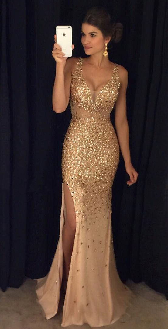 72e56122b87 Gold Crystals Mermaid Prom Dresses,Deep V Neck Slit Prom Dresses,Off ...