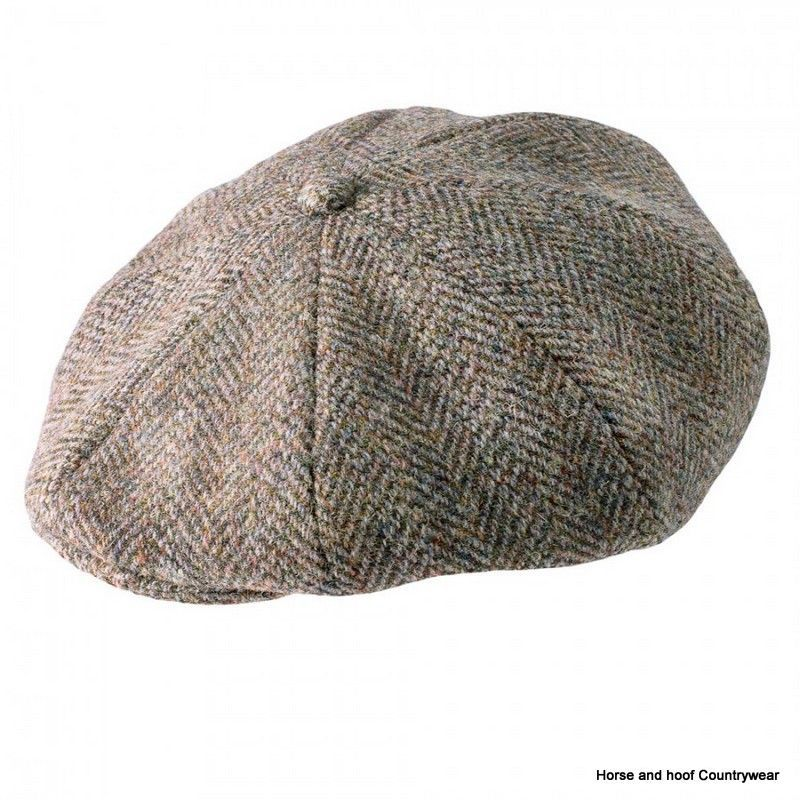 6b591a946c2709 Heather Hats Arran Harris Tweed Flat 8pc Cap - Dark Green The Arran 8-piece Harris  Tweed flat cap has a burnt orange satin lining and matching