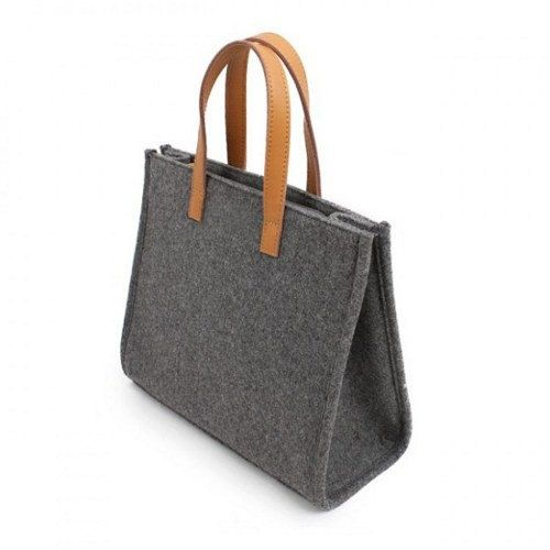 Simple Woolen Felt Tote Bag  with Genuine Leather for by IZIC