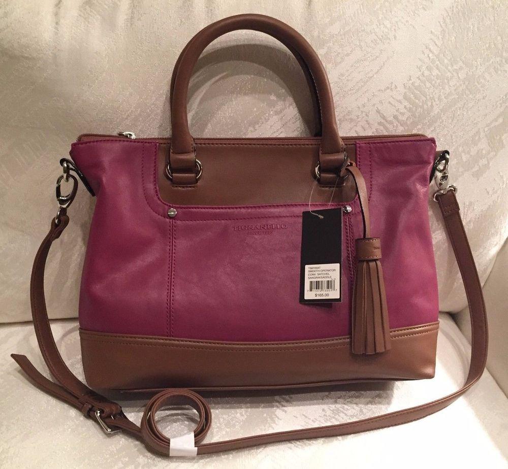 48cba4498274 Tignanello Smooth Operator Convertible Satchel Bag Leather Sangria Saddle   165  Tignanello  Satchel