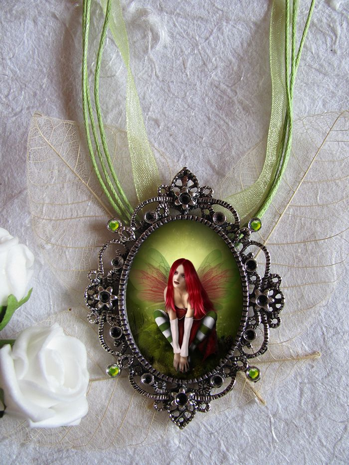 Green forest fairy art cameo art pendant necklace wholesale handmade wholesale fairy jewelry i fairy gothic and fantasy art jewelry wholesale aloadofball Gallery