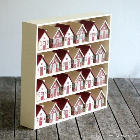 calendrier de l 39 avent en bois 24 maisons no l jul. Black Bedroom Furniture Sets. Home Design Ideas