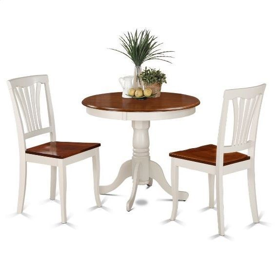Black And Cherry Round Table And Two Dinette Chair 3 Piece: 3-Piece Dining Set Dinette Solid Wood Round Table 2 Chairs