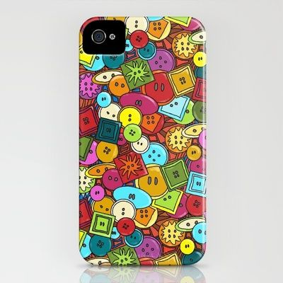 graffiti buttons iPhone Case by Sharon Turner - $35.00