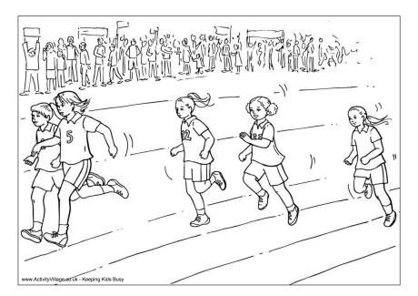 Girls Sprint Colouring Page Sports Day Pictures Sports Coloring