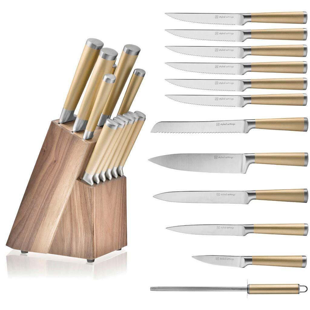 Gold knife set with walnut knife block 12piece kitchen