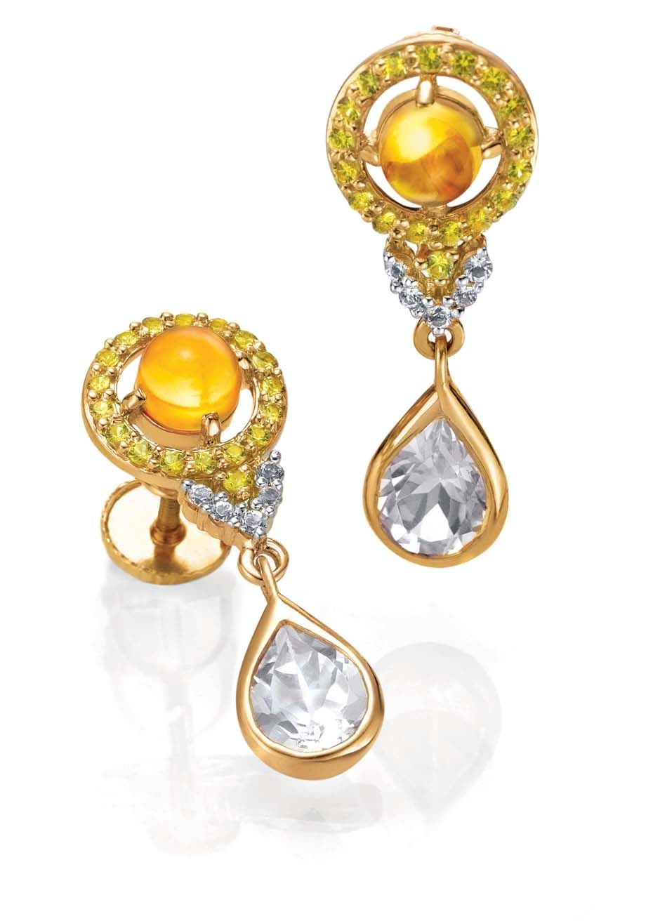 Tanishq IVA 2 collection gold and diamond drop earrings with coloured stones.