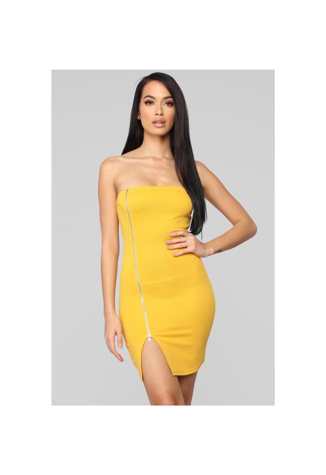 Fashion Nova Strapless Dress Really Cute Ribbed Yellow Dress With Asymmetrical Zipper Design Fits Really Nice And Form Fitting Tube Dress Fashion Mini Dress [ 1600 x 1101 Pixel ]