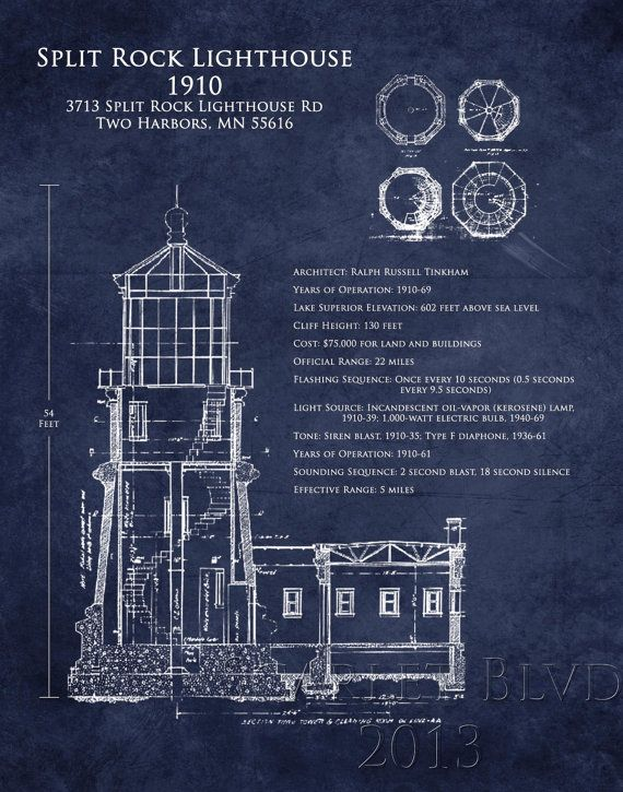 Split rock lighthouse architectural blueprint art by scarletblvd split rock lighthouse architectural blueprint art by scarletblvd malvernweather Gallery