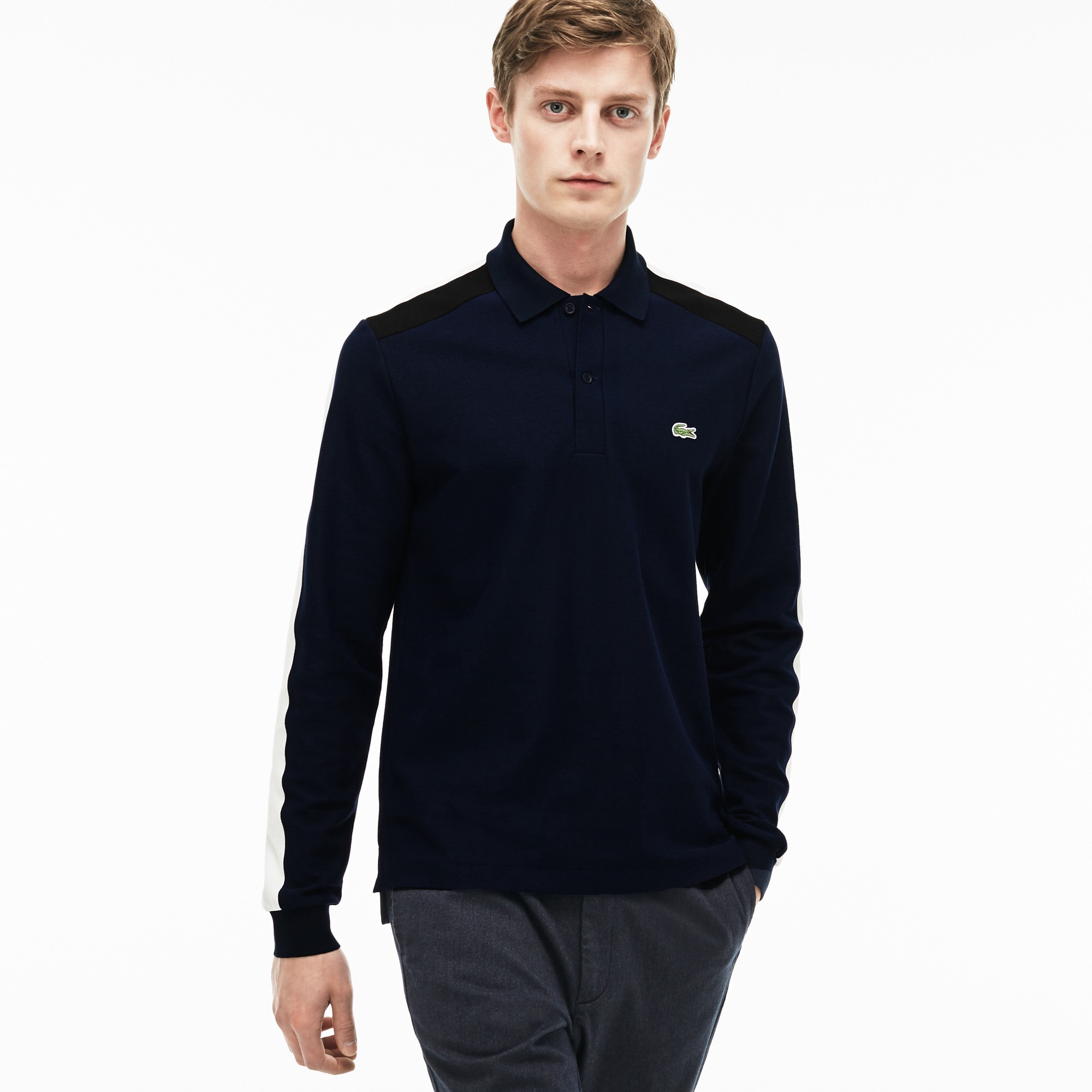 e966b6f81 LACOSTE Men's Made In France Regular Fit Piqué Polo - navy blue/cake flour  whit. #lacoste #cloth #