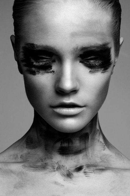 Black and white photography modeling makeup