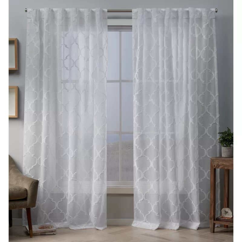 Hussey Geometric Sheer Tab Top Panel Pair Home Curtains