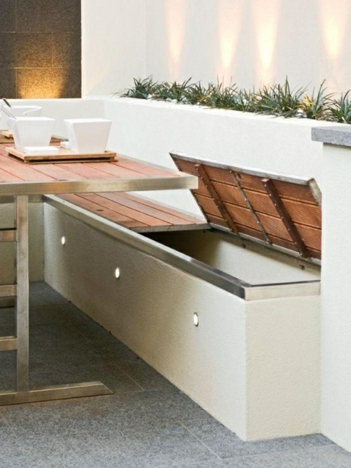 Voici nos exemples pour un banc de jardin. | Banc coffre exterieur ...