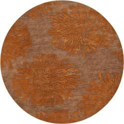 Hand-tufted Contemporary Tan/Orange Limoges New Zealand Wool Abstract Rug (8' Round)