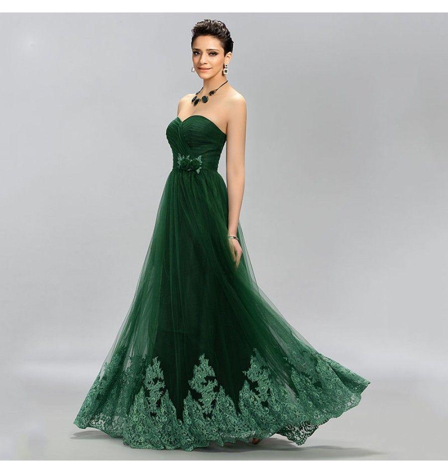 9474bcb08b316 Elegantes Abendkleid mit Herz Bustier Grün
