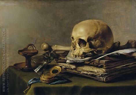 Pieter Claesz: Vanitas Still Life 1630 By Pieter Claesz Replica Paintings on Canvas - Reproduction Gal...
