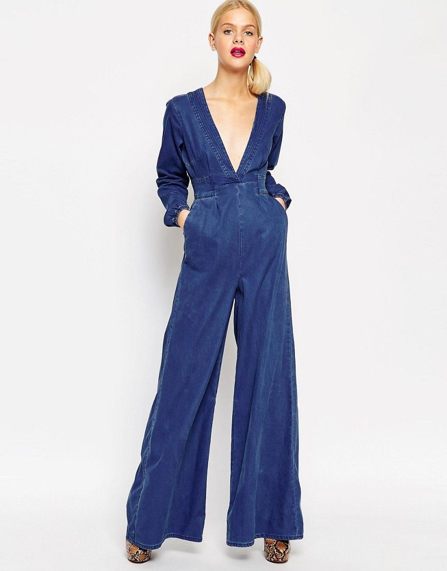 Image 1 of ASOS Denim Bianca Premium Jumpsuit