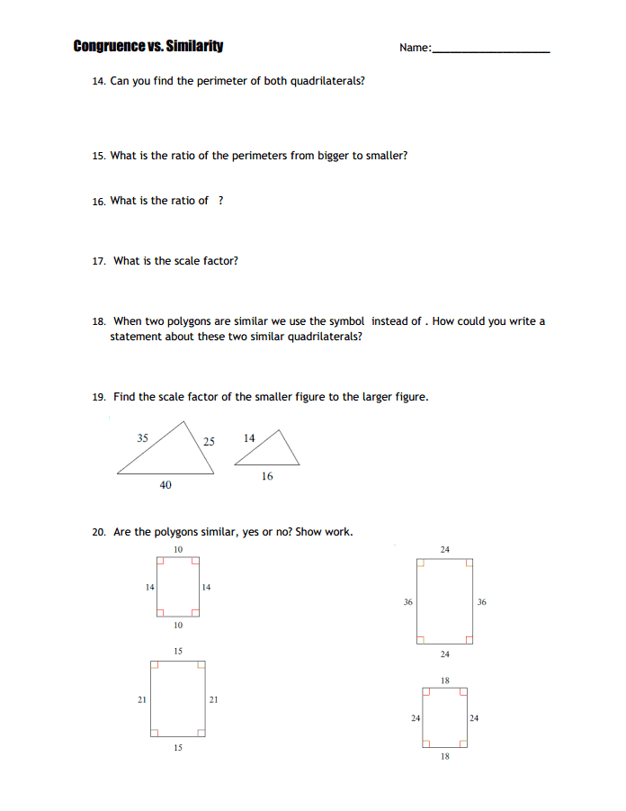 Similarity Vs Congruence Investigation Docx Google Drive Math Notebooks Printable Budget Worksheet Find The Perimeter