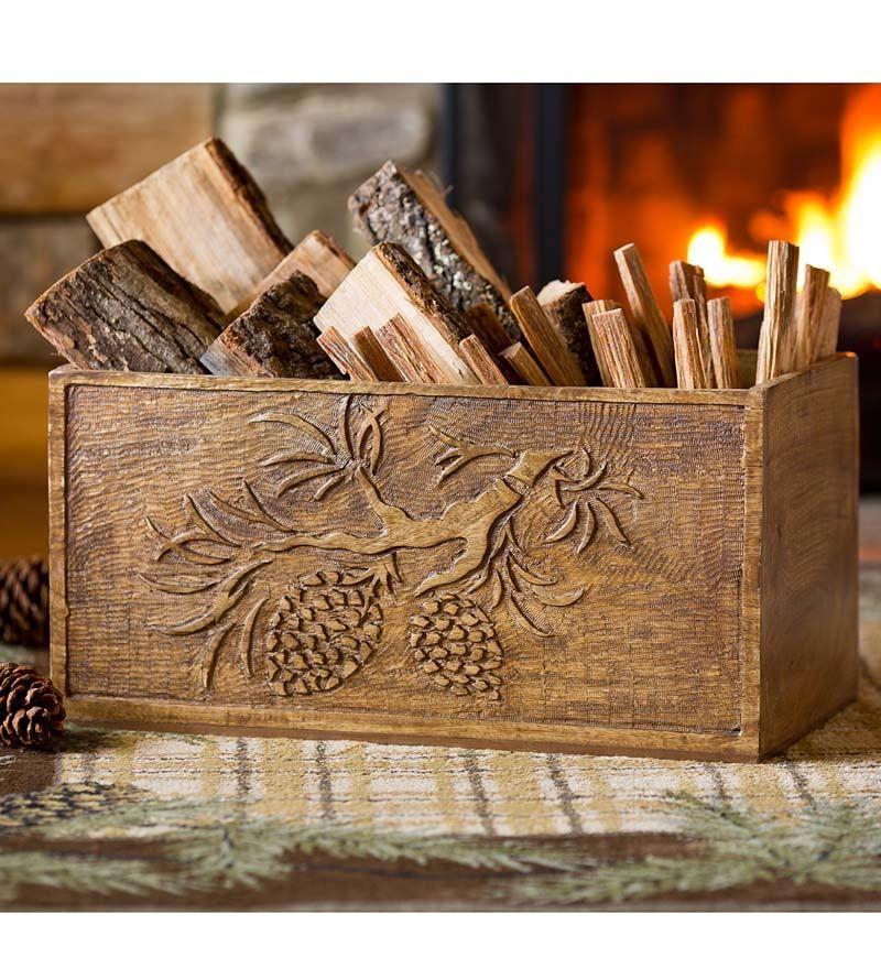 Hand Carved Wood Pine Cone Box Storage Helpers Wood