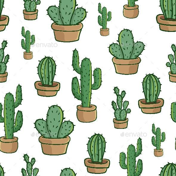 Cactus Cartoon Seamless Pattern Wrapping Paper Vector Cactus Cartoon Cartoon Styles Cactus
