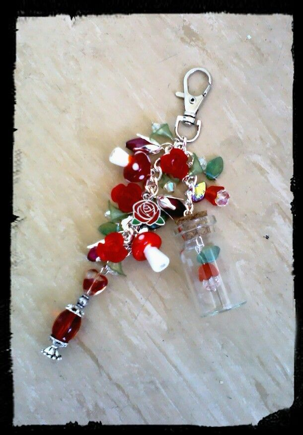 Alice in wonderland inspired bottle bag charm by The Ivybridge Crafter's