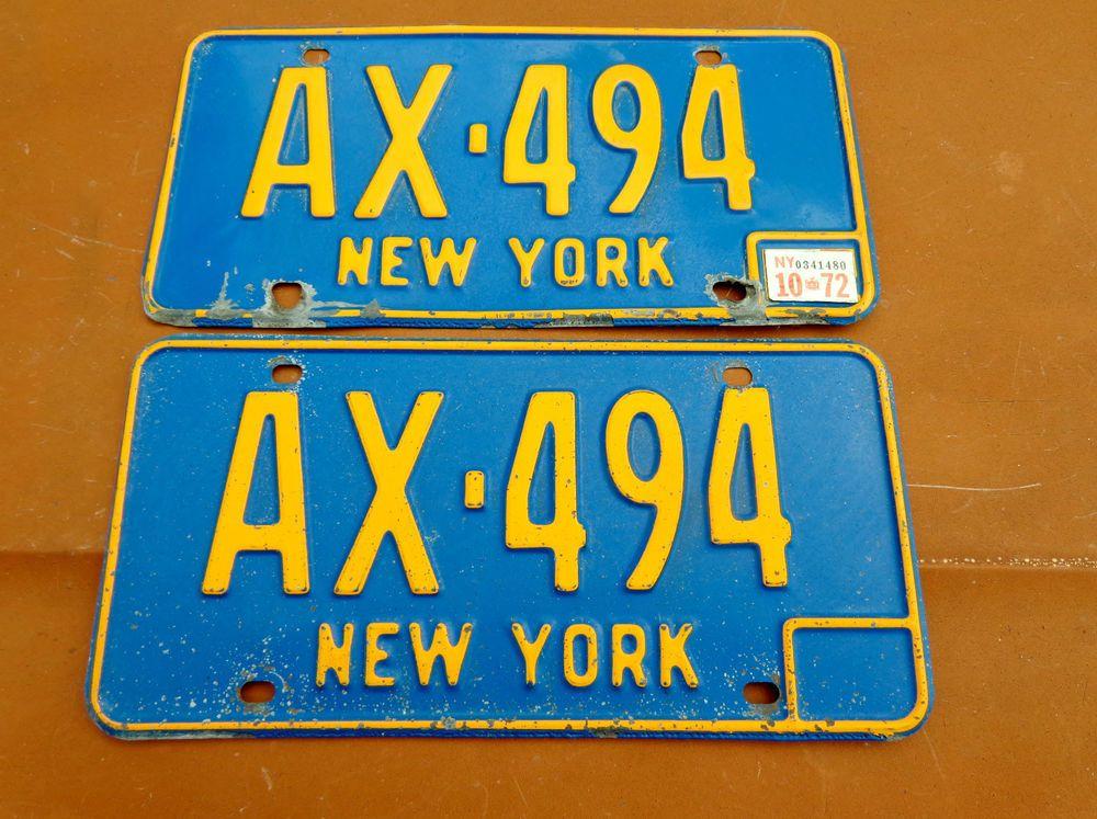70s Vintage New York License Plate Yellow On Blue W Sticker 72 Heavy Steel