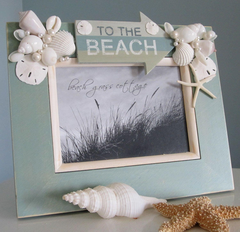 Beach Decor Seashell Frame Nautical Decor Shell Frame With Beach 8x10 Aqua 60 00 Via Etsy Seashell Frame Beach Theme Decor Beach Crafts