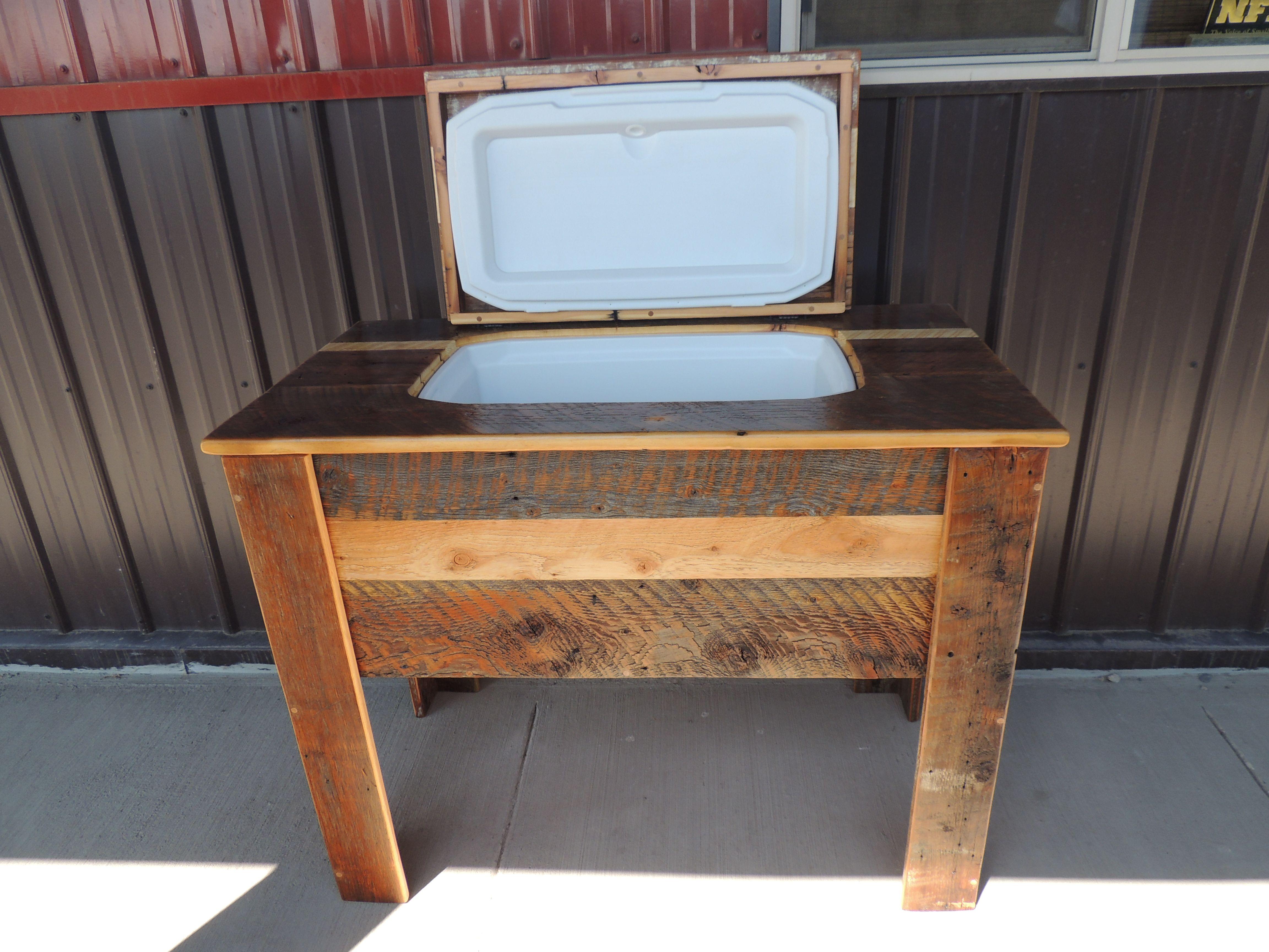 Custom Barn Wood Cooler Table Outdoor Furniture