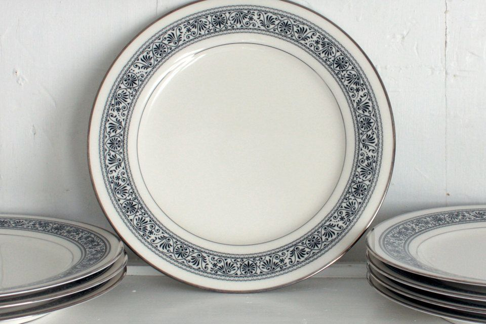 Vintage Dinnerware Noritake China Dinner Plates Black and White Damask Prelude Pattern Plates - & Vintage Dinnerware: Noritake China Dinner Plates Black and White ...