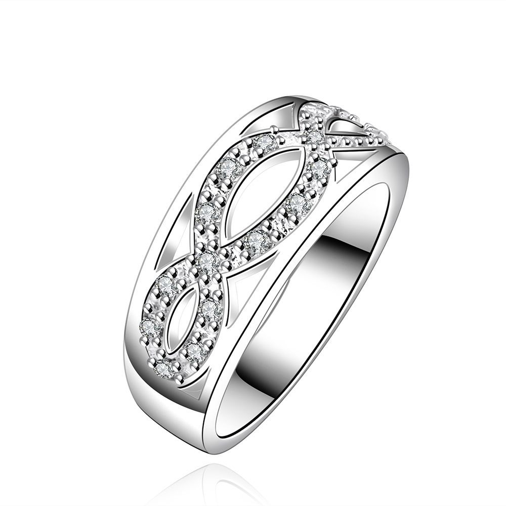 Sz7 S925 Silver Filled Full CZ Cross Women s Wedding Band Engagement Ring Gift