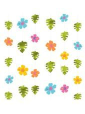 Decorations:Note: Use individual shapes ? size Hibiscus Luau String Decorations - Party City 6 pcs ea 7' long $3.99