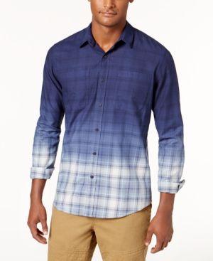 154af414f American Rag Men s Dip-Dyed Plaid Shirt
