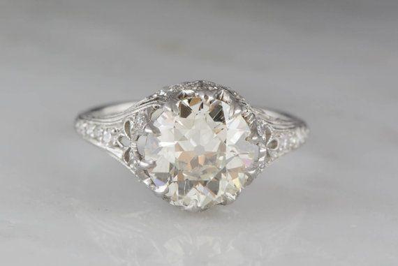 794b56e7a 2.75 Carat Old European Cut Diamond High-Edwardian Platinum Engagement Ring  with .50ctw Diamond Accents R353