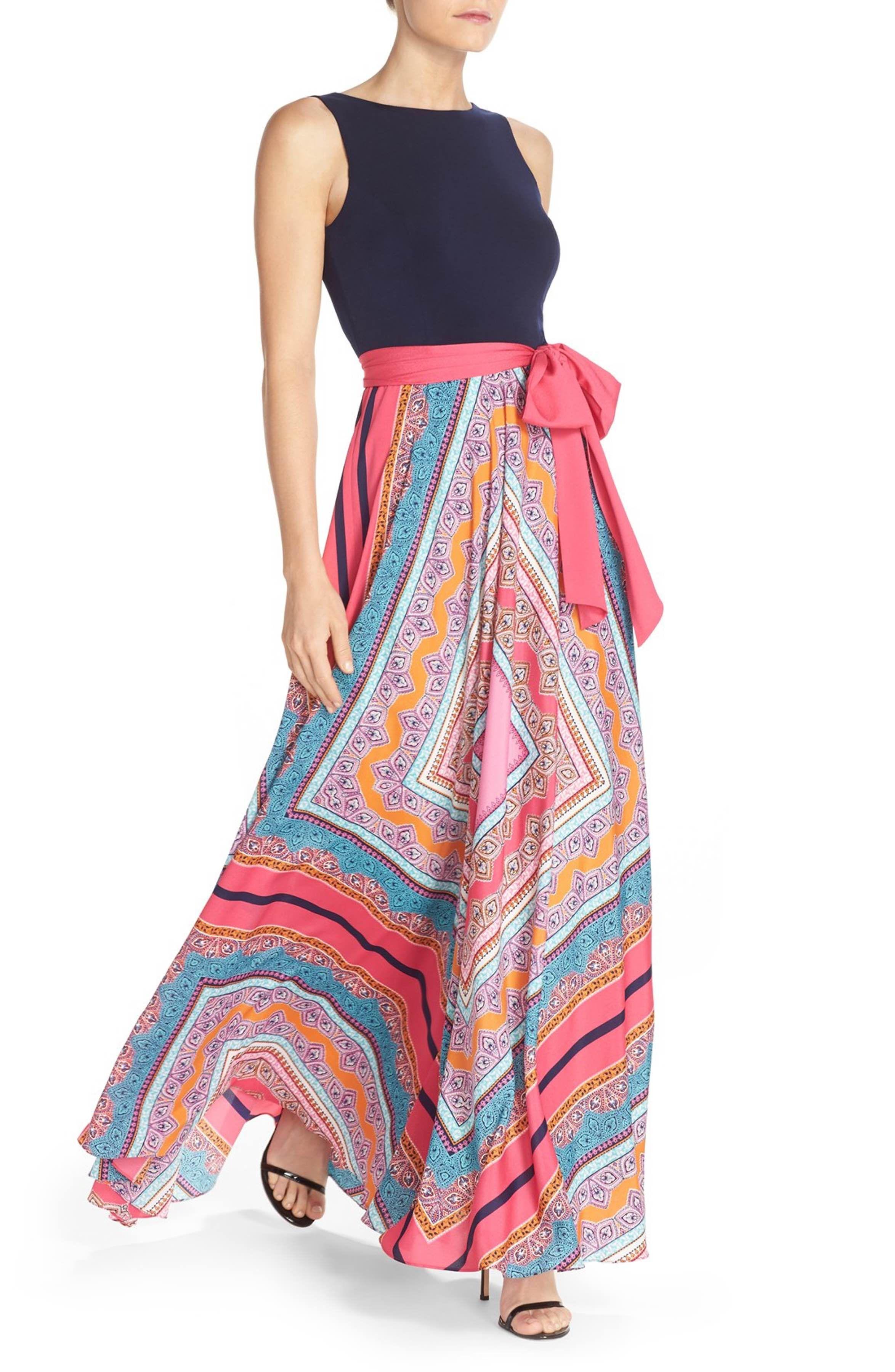 ebbf151320230 Main Image - Eliza J Scarf Print Jersey & Crêpe de Chine Maxi Dress ...