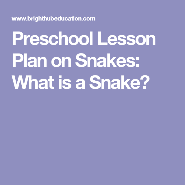 Preschool Lesson Plan On Snakes What Is A Snake  Labs