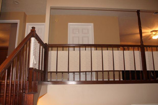 Bon Baby Proof Your Banister With A DIY Fabric Banister Guard, Fabric Banister  Guard, Diy Banister Guard, Diy Stair Rail Guard, Diy Stair Case Baby  Proofing