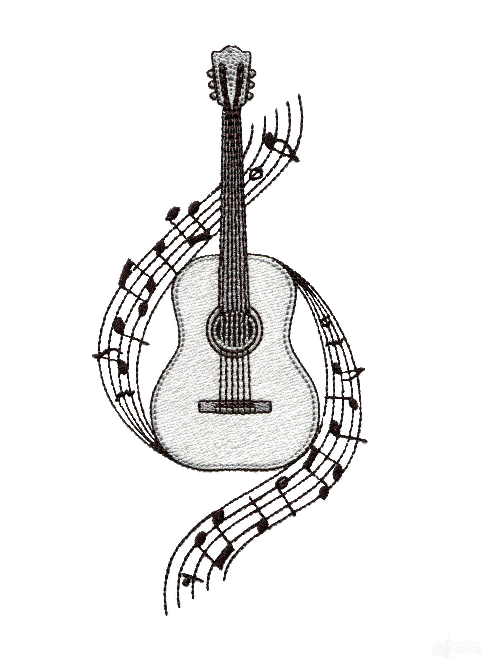 Guitar Embroidery Design