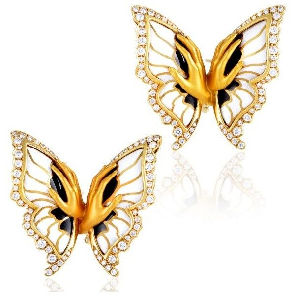 Pre-owned Magerit 18K Yellow Gold Versailles Enameled Diamond Mariposa... ($4,900) ❤ liked on Polyvore featuring jewelry, earrings, fine jewelry, enamel earrings, 18k yellow gold earrings, 18k gold earrings and diamond earrings