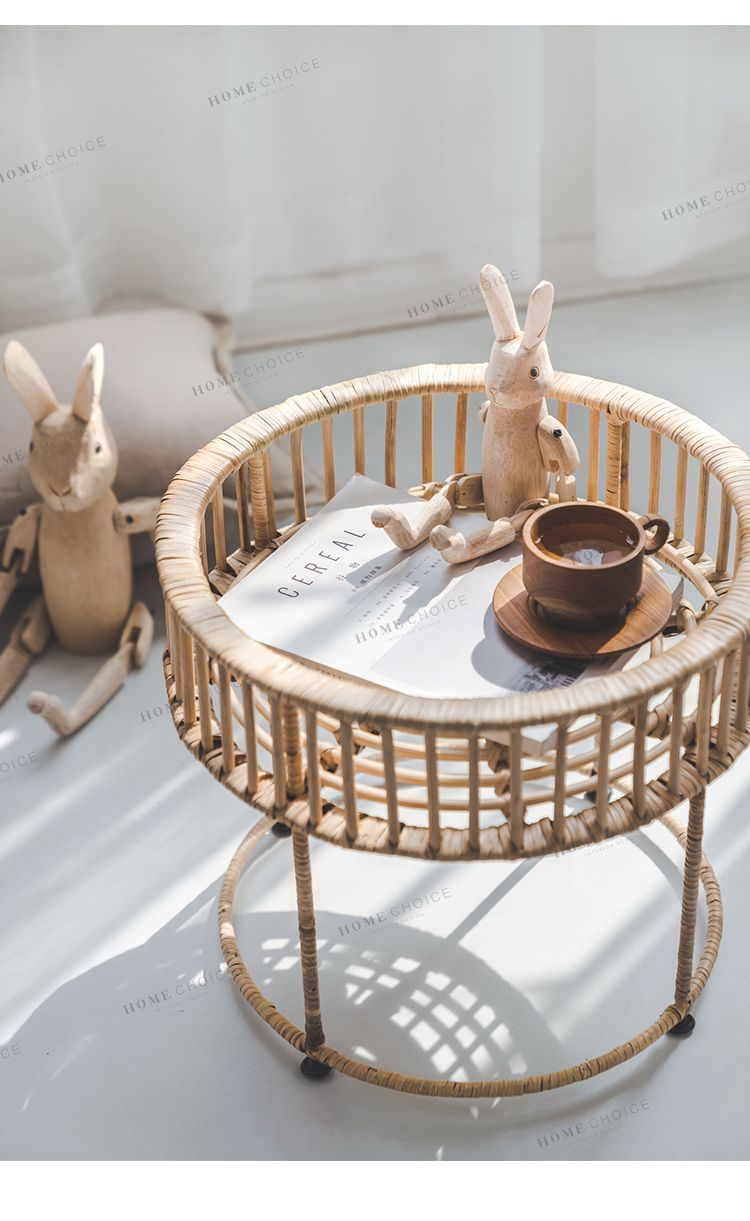 round woven rattan coffee table