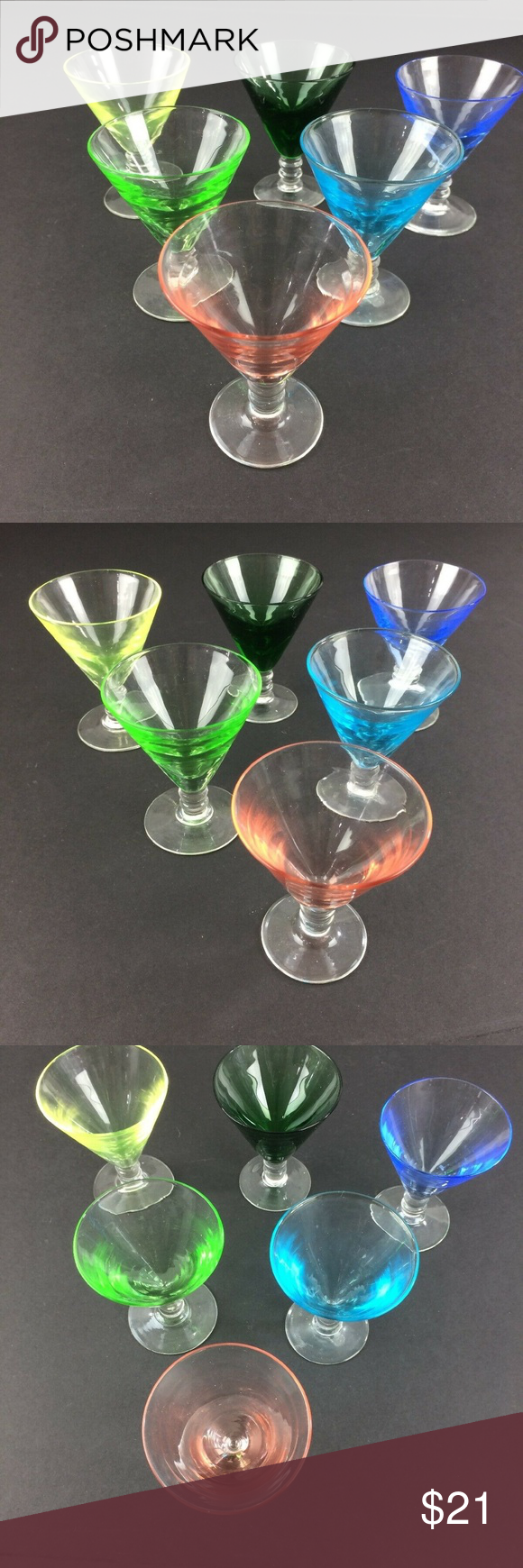 6 Vintage Cordial / Shot Glasses Multi Colored in 2020