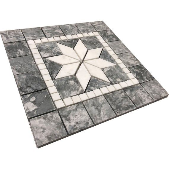 Gray Waves And White 12x12 Medallion Backsplash Tile Mosaic Marble Wall Or Flooring Design Deco Art In 2020 Mosaic Tiles Marble Polishing Arabesque Mosaic Tiles