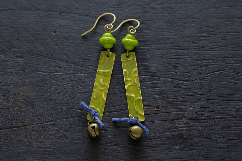 Hand Painted Embossed Boho Style Green Earrings with Hemp Cord and Bell Charms, Handpainted Earrings, Wearable Art, Matchstick Earrings
