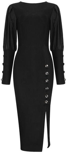 Black Stretch Button-Embellished Midi Evening Dress in 2019 ... 31772bf7a