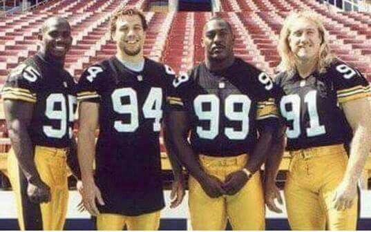 GREG LLOYD, CHAD BROWN,LEVONNE KIRKLAND, KEVIN GREEN, FOUR OF THE BEST LINEBACKERS IN STEELER HISTORY